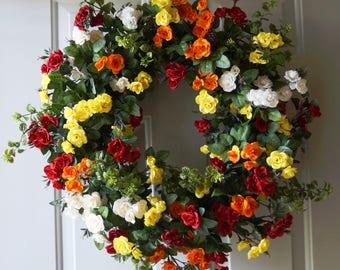 Roses Wreath, Large Summer Wreath, Red Yellow Orange Cream Roses Wreath for Front Door 28 in