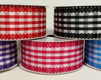 """1 1/2"""" Polyester Gingham with Saddle Stitch - 10 Yards"""