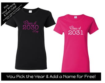Girly Style Class of 2030, Class of 2031 etc. - You choose the YEAR and COLORS - First Day of School Shirt - Kindergarten Shirt - Preschool