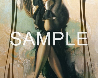 Fabric Art Quilt Block  - Retro Beauty  - 12-1710- FREE Shipping