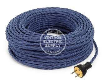 Denim Twisted Raw Yarn Cordset - Cloth Covered Rewire Set - Antique Lamp & Fan Cord