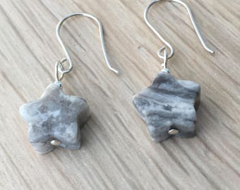 Crazy Lace Agate earrings on sterling silver wires