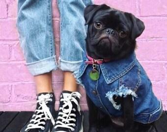 Denim Dog Vest / Dog Jacket  / Denim Dog Jacket / Dog Vest  / Cool Dog Jacket / Dog / Pethaus