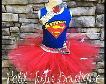 Super Girl Birthday Tutu set sizes available 12m to 10/12y FREE Personalization Name and Age Super Hero Superman