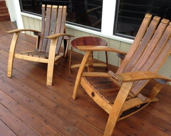 Wine Barrel Adirondack // Craftsman Napa Valley Wine Barrel Adirondack Chair Indoor Outdoor Furniture