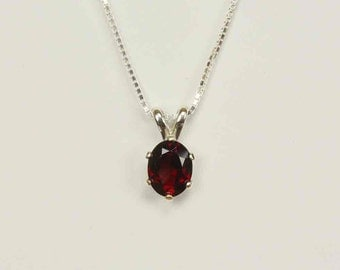 Natural Garnet in Sterling Silver Pendant