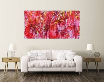 XXL abstract painting 100x200cm modern acrylic art on canvas and frame #478