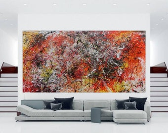 Modern abstract artwork in XXL by Alexander Zerr acrylic on canvas 200x400cm #510