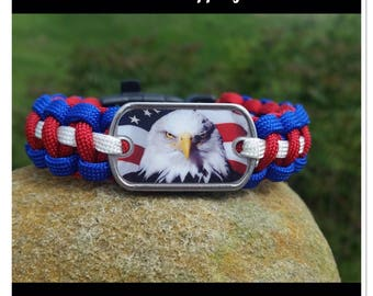 American Eagle Survival Bracelet with Whistle Buckle