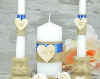 Rustic Unity Candle Set Navy Blue Candle Personalized Wedding Unity Set Burlap wedding