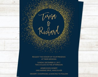 Navy Gold Wedding Invitation, Wedding Invitation Printable,  Navy Gold Wedding, Gold Glitter Wedding Invitation Template