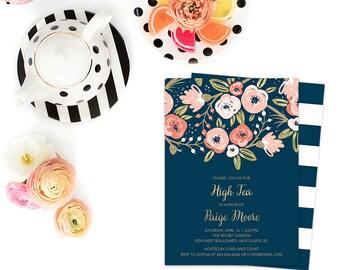 High Tea Invitation, Floral High Tea Invitation, Garden High Tea Invitation, Navy Gold High Tea digital Invite, Boho Bridal Shower