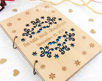 Winter Wedding Guest Book, Wood Engraved Guestbook, Laser Cut Album, Snowflake Guestbook, Wedding Guestbook Album, Advice Book, Recipe Book