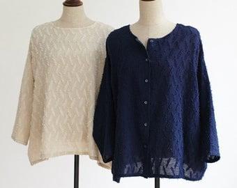 Reversible Shirt Cardigan,Oversized Linen Cotton Shirt Blouse Tops,Texture Linen Shirt,Beige,Navy Blue