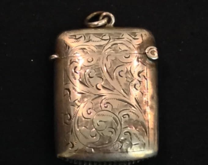 Storewide 25% Off SALE Antique English Sterling Silver Victorian Feathered Vesta Match Safe With Engraved Strike Plate Featuring Original Cu