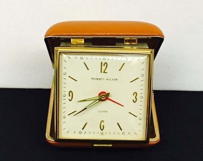 Storewide 25% Off SALE Vintage Phinney-Walker Gold Tone Bedside Mechanical Travel Alarm Clock Featuring White Face Dial With Gold Tone Hour