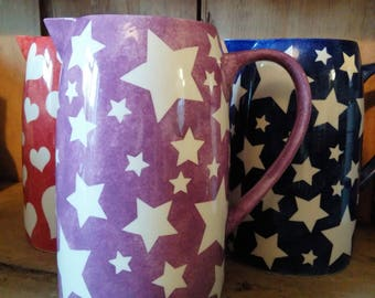 Stunning Stars / Love Heart Ceramic Jug Pick A Colour to Suit Your Decor