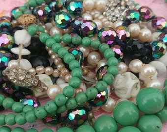 Vintage mixed lots of broken necklaces glass beads, plastic beads, faux pearls