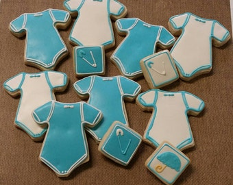 Baby Boy Gift  Baby Shower Gift New Parents Baby Shower Favors Blue Cookies Mini Cookies Customized baby gift