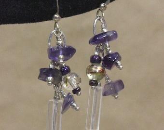 Purple Earrings, Beaded Earrings, Glass Bead Earrings, Silver Earrings, Dangle Earrings