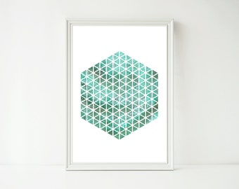 GEOMETRIC WALL ART - Instant Download - Art Print - Printable Art - Downloadable Prints - Circle Art - Turquise - Abstract Art