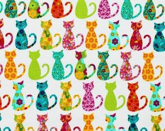 Calico Cat Michael Miller 100% Cotton Fabric CX4911 FQ 1/2 Half Full Metre