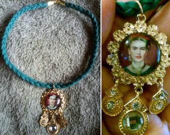 Air Force Blue Suede Frida Kahlo Choker Necklace