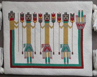 Native American Navajo Hand Made Yei be chai Needlepoint Tapestry