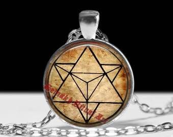 Merkaba pendant, sacred geometry jewelry, golden ratio talisman, magic amulet #483