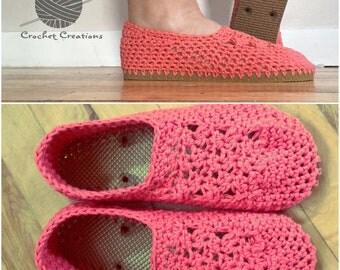 Crochet Flip Flop Slippers - indoor/Outdoor Shoes - Women's 7/8 - Tangerine, Tan Soles