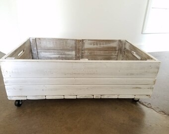 Whitewashed Underbed Crate // Rolling Underbed Storage