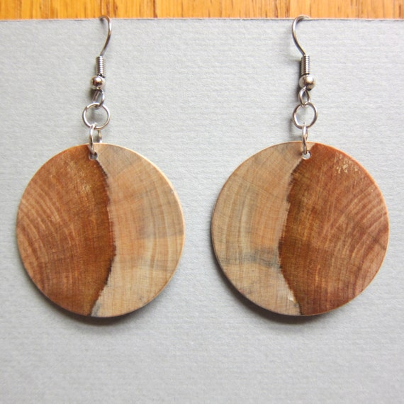 Circle, Earrings Norfolk Island Pine, Exotic Wood  hypoallergenic handmade ExoticwoodJewelryAnd