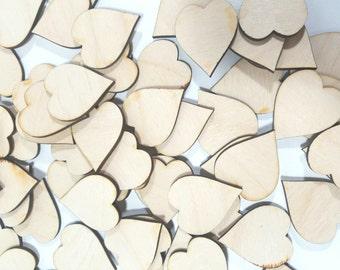 Mini Heart Cut Outs, Small Signature Hearts, Guest Book Hearts, Wedding Guest Hearts, Wood Heart Shapes