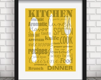 Mustard Yellow Kitchen Decor Words Print Style Poster Utensils