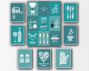 Perfect Teal Variations 8 Set Kitchen Decor   Kitchen Wall Art   Kitchen Print Set    Kitchen