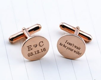 Personalized Groom Wedding Cufflinks,Rose Gold Engraved Cufflinks,Monogram Cufflinks, Wedding Favors, Engagement Gift ,Bridesmaid  Gift