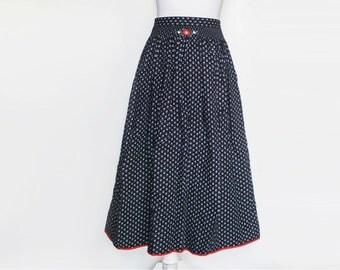 Heart Pattern Skirt, Vintage Skirt, Black Midi Skirt, High Waist Skirt, Black Skirt, 80s Skirt, Vintage Skirt, Heart Print Skirt, Size Large
