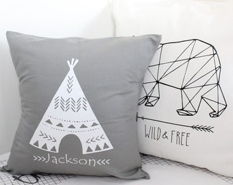 Teepee pillow cover with personalized name