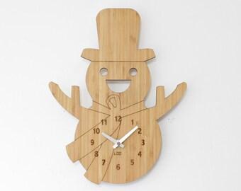 Bamboo Wood Kids Retro Wall Clock -  Christmas Snow Man
