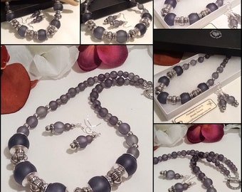 Chunky Charcoal & Antique Silver Necklace with Matching Earrings by Emerald Forest Designs