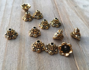 8mm  Bead Caps~Antiqued Gold Finished