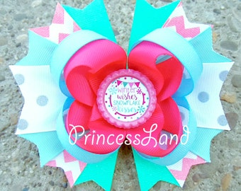 Christmas Hair Bow - Hair Bows For Girls - Holiday Hair Bows - Christmas Hair Clip - Snowflake Hair Clip