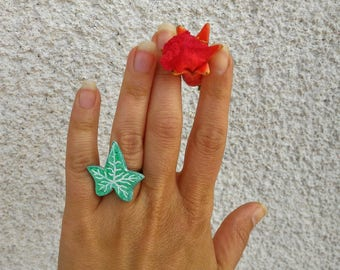 Ivy leaf ring birght green eco-friendly cold ceramic clay chalk paper fibre, natural gift for eco-conscious woman, silver adjustable ring
