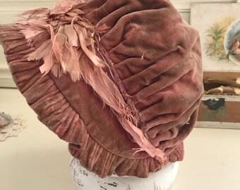 Antique Tattered Rose Velvet Bonnet Frayed Silk Ribbon Antique Child's Bonnet