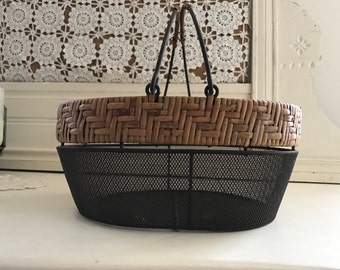 VIntage Primitive Farmhouse Wire Mesh and Woven Wood Basket