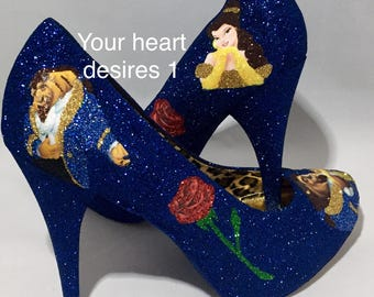 Beauty and the beast shoes custom wedding prom cosplay women's shoes