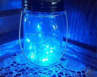 Hanging Mason Jar Solar Lid Light - Blue Angel Lights - Firefly Lights - with 1 Blue Mason Jar and Hanger - fairy light, solar mason jar