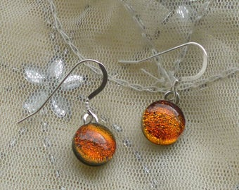 Orange / Red Dichroic Glass Dangle Earrings.  Fused Glass Earrings. Orange / Red Dangle Earrings
