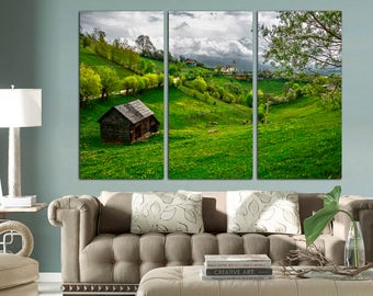 3 Panel Canvas Split ,Green meadows and Switzerland village, Photo Print on Canvas, canvas art, Interior design, Room Decoration, Photo gift