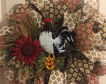 Rustic Rooster Wreath-Burlap Deco Mesh